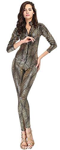 Mendove Women's Sexy DS Pole Dancing Snake Zip Club Jumpsuit US S Gold (Dance Jumpsuit Costumes)