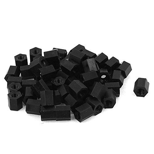 Nylon Hex Spacer (M3x6mm Nylon Hex Spacer Standoff Pillar Female Screw Nut Black 50Pcs)