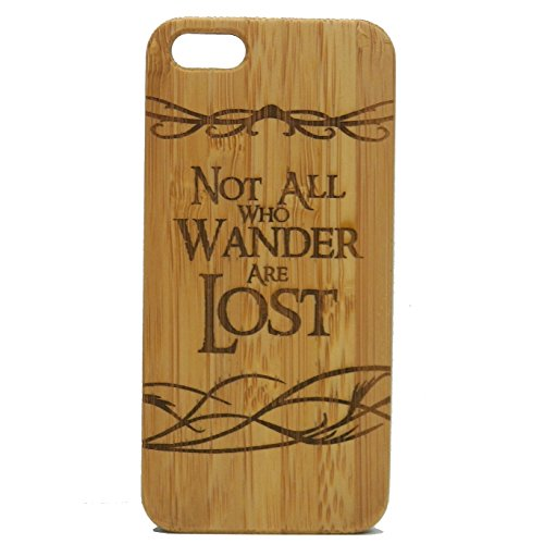 iMakeTheCase Not all Who Wander Are Lost iPhone 6 Plus or iPhone 6S Plus Case. Nomad Lord of the Rings Quote. Bamboo Wood Phone Cover. Brown Wood.
