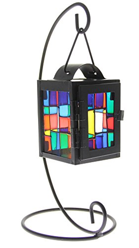 Tabletop Hanging Candle Holder Lantern on a Stand - Colorful Stained (Colorful Candle Holders)