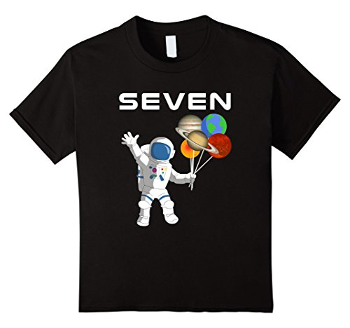 Kids 7 Year Old Outer Space Birthday Party 7th Birthday Shirt B]()