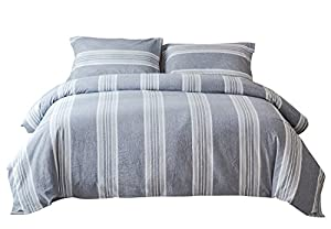 PHF Washed Cotton Duvet Cover and Shams Yarn Dyed Bedding Set 3-Piece Queen Size Blue Greyish