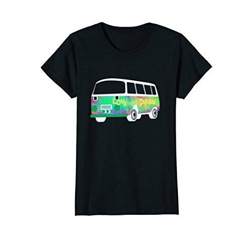 Womens Vintage Hippie Bus Shirt - 60s & 70s Flower Power T-Shirt XL (Vintage Womens Hippie Shirt)