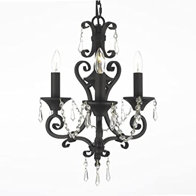 "New! TOLE WROUGHT IRON & CRYSTAL CHANDELIER H 17"" W 16"""