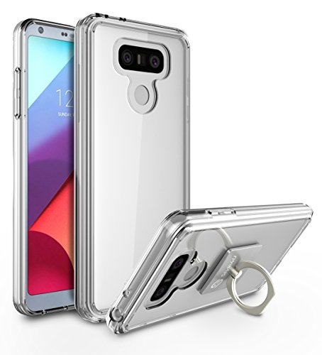 LG G6 Case, LG G6 Plus Case, Style4U Scratch Resistant Shock Absorbent Ultra Slim Crystal Clear PC Back TPU Bumper Protective Case Cover for LG G6 / LG G6 Plus with 1 Ring Holder Kickstand [Clear]