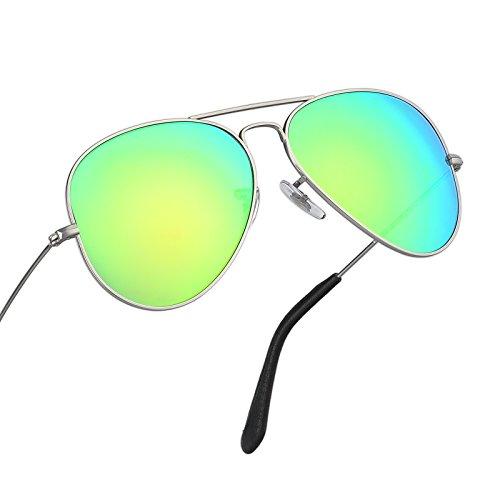 Italy made pilot titanium sunglasses w. corning natural glass truecolor polarized (Truecolor Green Flash, Silver Titanium) N 3 Sunglasses