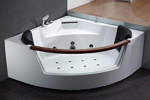 Corner Whirlpool Bath (EAGO  AM197 5-Feet Rounded Clear Modern Corner Whirlpool Bath Tub with Fixtures)