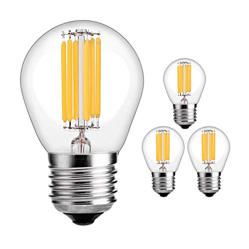 (HzSane G45(A15) 6W Antique Edison Style LED Filament Light Bulb, 2700K Warm White, 600LM, E26 Base Lamp, 60W Incandescent Equivalent, Dimmable, 4-Pack)