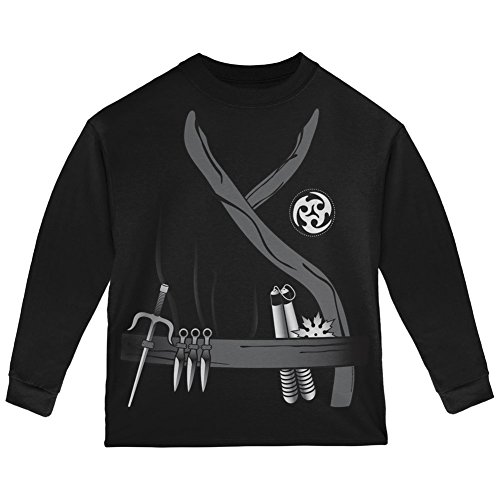 Halloween Ninja Assassin Costume Black Toddler Long Sleeve T-Shirt - 2T (Cheap Ninja Costumes)