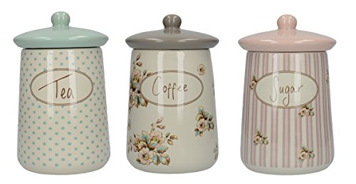 Katie Alice Set of 3 Cottage Flower Tea, Coffee and Sugar Storage - Garden Canister Tea