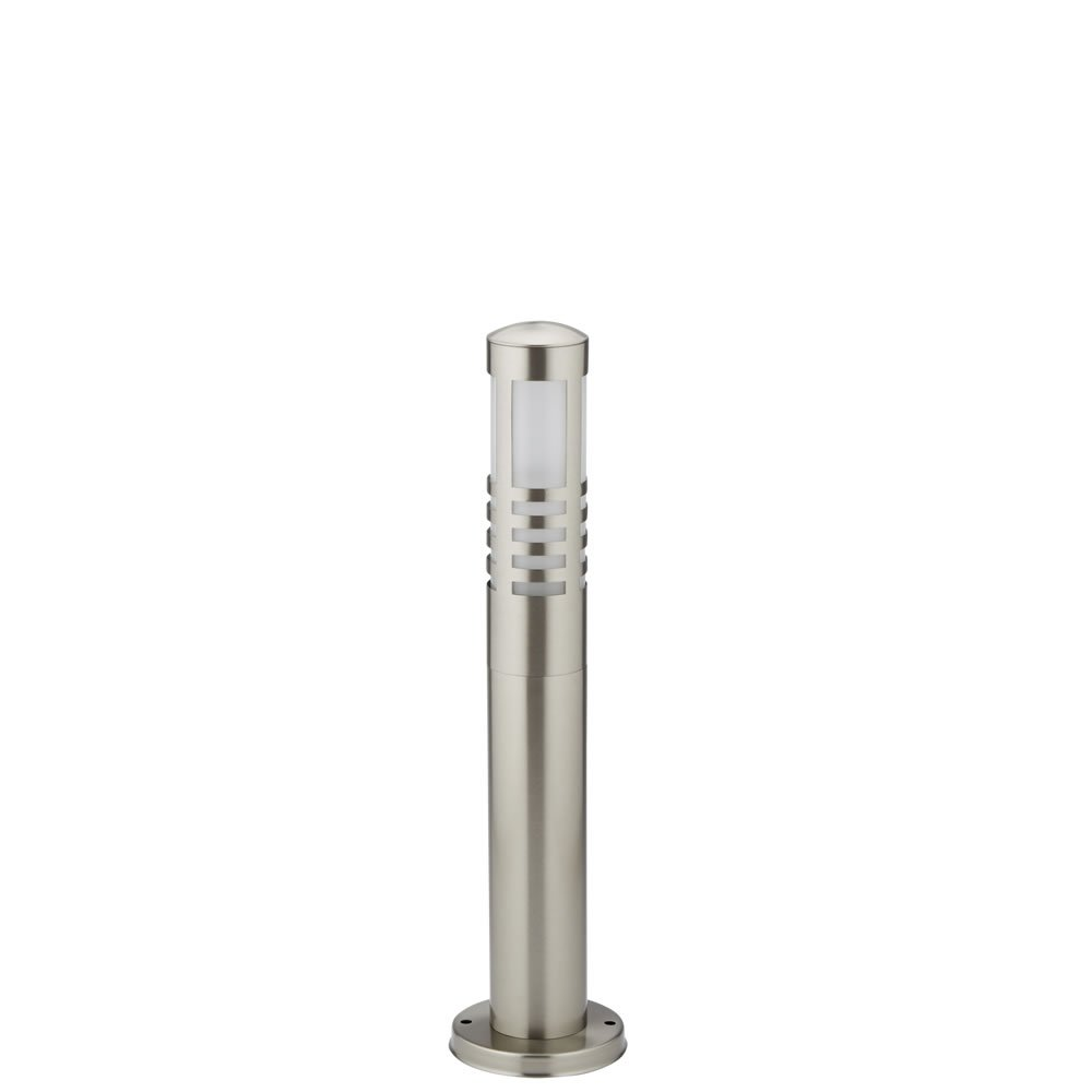 Biard Orleans 450mm Stainless Steel IP44 Modern Outdoor Bollard Light with Free E27 JCB 6W LED Bulb in Warm White - Post Lighting Garden Pathway Commercial Driveway