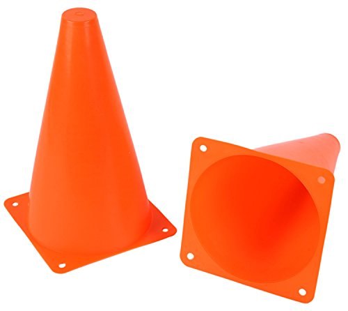 iFavor123 Pack of 12 Plastic Orange 7 Inch Cones for Sports Training Construction Theme Party Events Outdoor Indoor Multipurpose Use -