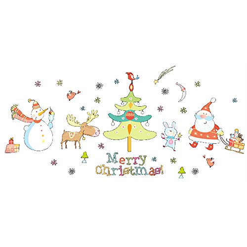 ufengke Merry Christmas Pegatinas de Pared Papá Noel Muñeco de Nieve Ciervo Árbol de Navidad Extraíble Vinilos Adhesivos...