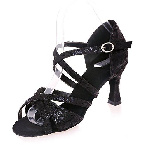 L@YC Mujeres Bailan Los Zapatos Modernos Gamuza / Lentejuelas Cuba Con MáS Color Interior Profesional Black