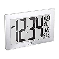 Marathon Slim Panoramic Atomic Full Calendar Wall Clock with 8 Time Zones, Indoor Temperature, and Stand - Batteries Included - CL030068WH-SS (White Case/Stainless Finish)