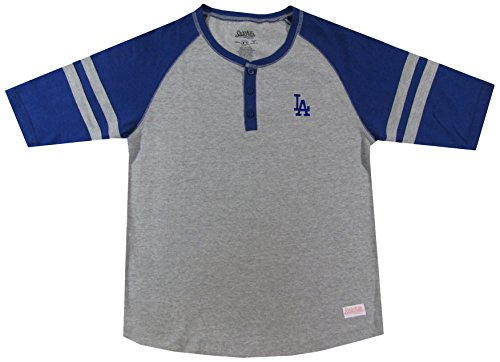 MLB Los Angeles Dodgers Girl's Colorblocked Henley Top, Grey, Small ()