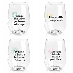 Govino 'Charmed' Series 16 Ounce Top-rack Dishwasher Safe Wine Glasses 4 Pack (GIRLFRIEND SAYINGS)