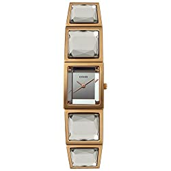 GUESS? Women's W15032L1 Crystal Accented Rose Gold-Tone Stainless Steel Watch