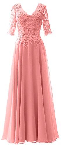 MACloth Elegant Half Sleeves Mother of Bride Dress V Neck Evening Formal Gown Blush Pink