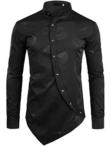 Z55 Pack (ZEROYAA Men's Hipster Paisley Printed Long Sleeve Mandarin Collar Shirts with Irregular Hem Z55 Black X Large)