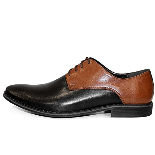 PeppeShoes Modello Broto - Handmade Italiennes Cuir Pour des Hommes Brun Chaussures Oxfords - Cuir de Vachette Cuir Souple - Lacer