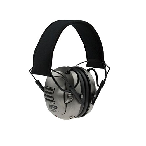 M&P Premium electronic earmuff with silver earcups, Black/Silver, One Size MP251C (Smith And Hearing Wesson)