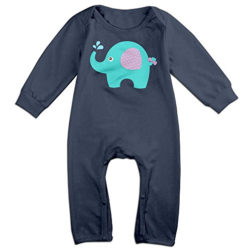 Piggie And Elephant Costumes (Baby Infant Romper Baby Elephant Long Sleeve Jumpsuit Costume Navy 6 M)