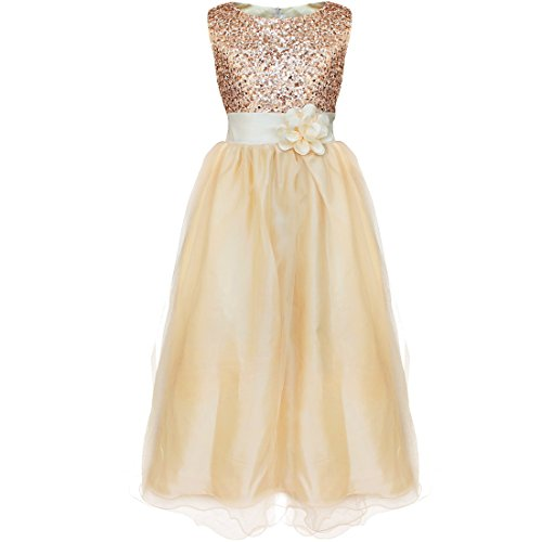 YiZYiF Kids Girls Sequined Wedding Dress Bridesmaid Formal Christmas Party Gown Champagne 10-12 (Christmas Pageant Dresses)