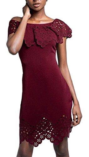 Jaycargogo Des Femmes De L'épaule Sexy Coupe Cintrée Au Large Évider Robes Club Bodycon Vin Rouge