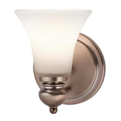 45046CLZ Sheila 1-Light Wall Sconce, Classic Bronze Finish with Sat-Inch Opal Etched White (Kichler Bronze Mirror)