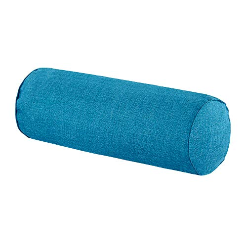 16x6 Inch Car Round Cervical Neck Pillow Semi-Roll Pillow with Washable Cotton Cover.(Blue)