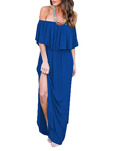 Shoulder Dress Off Side Pockets Long Dress Blue Maxi Women's Ruffle Split Choies p6FWqwTx7