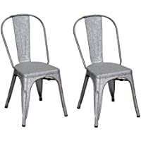 Adeco Metal Stackable Industrial Chic Dining Bistro Cafe Side Chairs, Rusitc Grey (Set of 2)