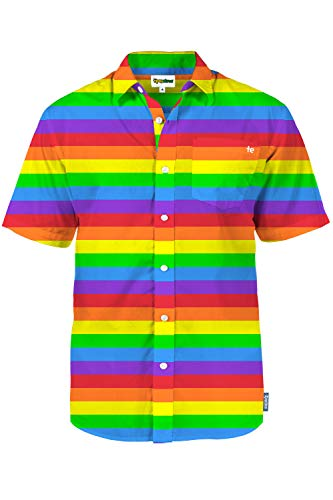 Men's Rainbow Hotty Hawaiian Shirt - Multicolored Striped Rainbow Aloha Shirt for Guys