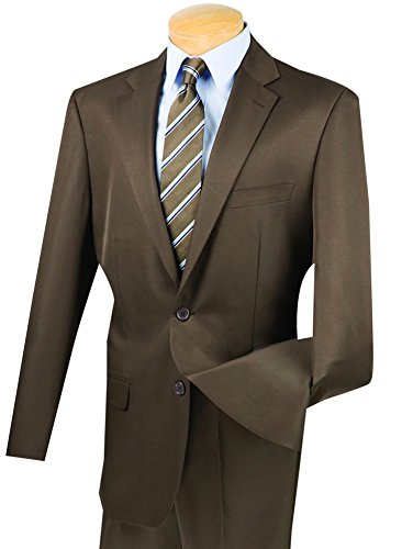 VINCI Men's Gabardine 2 Button Classic-Fit Suit w/Flexible Waistband New [Color Brown | Size: 48 Long/43 Waist]