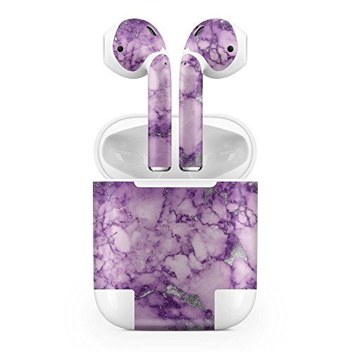 Apple AirPods Skin Kit - Purple Marble & Digital Silver Foil V1 - Design Skinz Minimal Protective Decal Wrap (Purple Kit)
