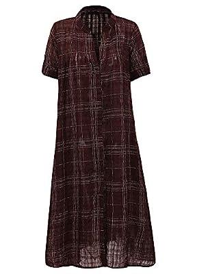 Romacci Women Long Button Down Shirt Blouse Dress Plaid Stand Collar Short Sleeve Plus Size Casual Shirt Black/Dark Blue/Red