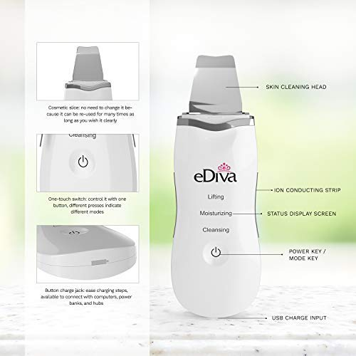 Advanced #1 Skin Scrubber, Scraper and Gentle Peel Device by eDiva - Cordless Pore Cleanser & Exfoliator, Comedone Extractor, Facial Lift Treatment, Dermabrasion, Face Beauty Spatula by eDiva (Image #2)