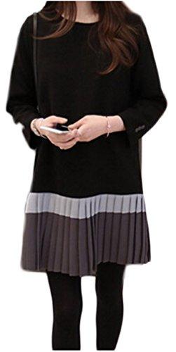 [ワン アンブ] 上品 ワンピース プリーツ 切替 体型カバー 着やせ きれいめ ネイビー S ~ XXXL レディース