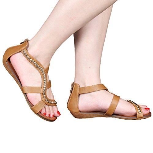 Coshare Kvinnor Evigt Mode Rebel-13 Läder Pu Strappy Gladiator Övre Ankel Hög Kil Sandaler Tan