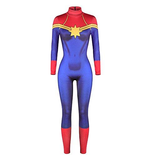 Captain America Bodysuit (Women's Halloween Sexy Cosplay Catsuit Costume Jumpsuit Bodysuit)