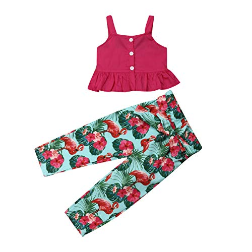 Toddler Kids Baby Girl Off Shoulder T-Shirt Vest Top + Long Fruit Pants Outfit Clothes Set (Flamingos Printed-Red, 6-7Years)