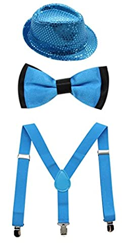 JAIFEI Boys Adjustable Suspenders with Pre-tied Bow Tie and Paillette Fedora Hat (Turquoise)