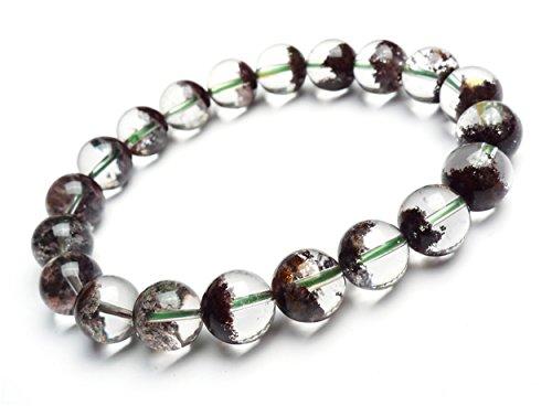 LiZiFang 9.5mm Natural Genuine Red Phantom Quartz Crystal Clear Round Beads Bracelet