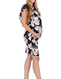 Women's Floral Ruffle Off Shoulder Maternity Dress Baby...