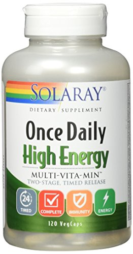 Solaray Once Daily High Energy Multi-Vita-min Two-Stage Timed-Release Capsules, 120 Count Day Energy Multi Vitamin