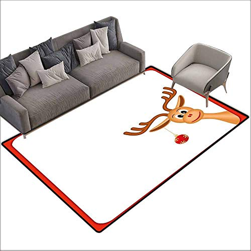 Anti-Fatigue Comfort Mat Kids Christmas,Reindeer in Empty Frame with Red Border Xmas Ball Hanging from Antlers,Pale Caramel Red 80