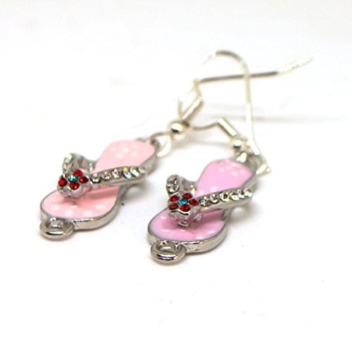 Pink Enameled Flip Flop Drop Dangle Earrings