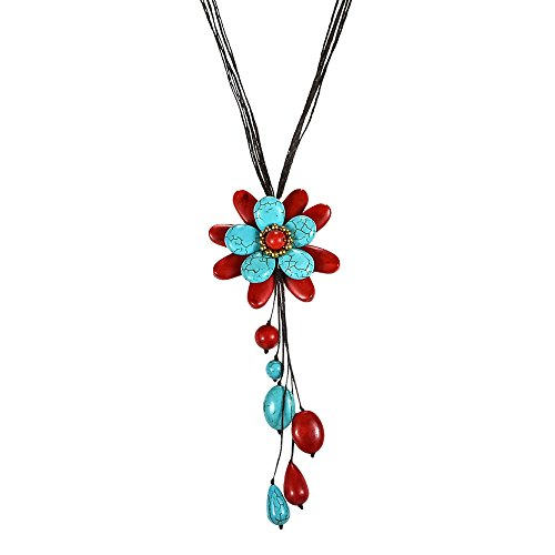 AeraVida Charm Simulated Turquoise & Reconstructed Red Coral Floral Wonder Dangle Pendant Necklace (Turquoise Red Coral Pendant)