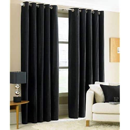 Gorgeous Home *DIFFERENT SOLID COLORS U0026 SIZES* (#72) 1 PANEL SOLID THERMAL  FOAM LINED BLACKOUT HEAVY THICK WINDOW CURTAIN DRAPES BRONZE GROMMETS (BLACK,  ...